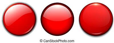 knapper, sæt, rød