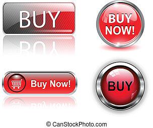 knapper, set., køb, iconerne