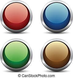 knapper, vektor, blanke