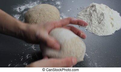 Kneading dough close up