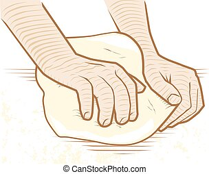 Hands kneading dough on a floured surface