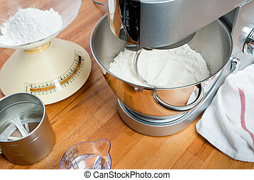 kneading dough - ambientation with kneading machine and...