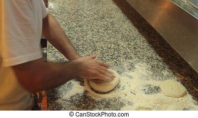Kneading pizza dough 1920 x 1080p HD video