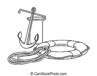 knecht, emblem, ringa, tackling, landning på vattnet, dragg, båt, elementara, liv, logo, rep