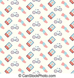 knee bandage cycling sport injury human leg icon online doctor consultation application healthcare medical service concept seamless pattern flat