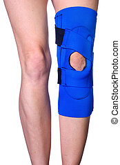 Knee in Knee Brace after an injury - Closeup of a womans...