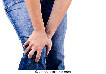 Knee in pain - Woman with knee pain on white background