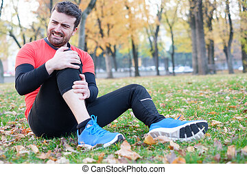 Knee injury and man runner with knee pain