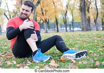 Knee injury and man runner with knee pain