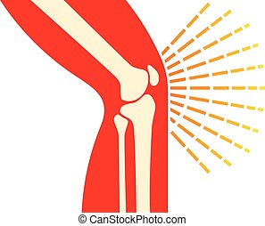 knee joint bones - pain icon (orthopedic clinics design)