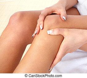 Knee pain - Knee joint  pain. Massage