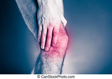 Knee pain, physical injury painful leg
