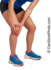 Knee Pain - Young woman with pain in her knee, isolated in...