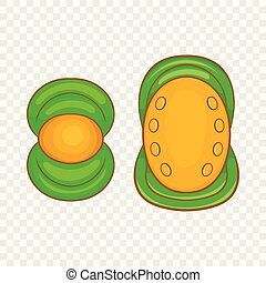 Knee protector and elbow pad icon, cartoon style