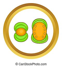 Knee protector and elbow pad icon in golden circle, cartoon...