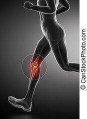Knee - running man leg scan in blue