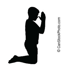Kneeling Boy Praying with Hands in fron of Face