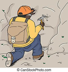 Kneeling Geologist Chipping Rock - Cartoon of Black...