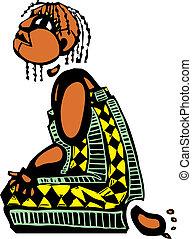 Kneeling Girl - Kneeling girl in an african patterned dress...