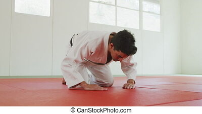 Kneeling judoka saluting on the judo mat - Low angle side ...