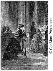 Kneeling on a low chair, vintage engraving. - Kneeling on a ...