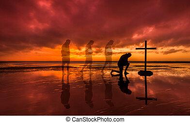Kneeling Salvation Cross