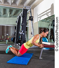 knees bench triceps push up woman at gym