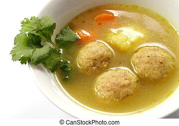 Kneidel soup, macro.