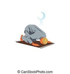 knieën, zijn, illustration., gedraaide, islamitisch, vector,...