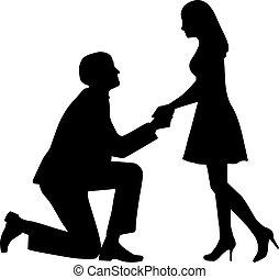 knieën, zijn, vrouw, huwen, vragen, voorstel, hem, man