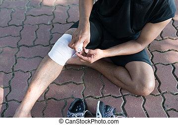 knie, mann, schmerz, injury., sport
