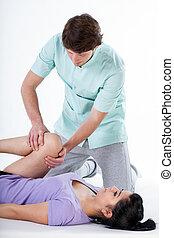 knie, rehabilitatie, op, fysiotherapie, centrum