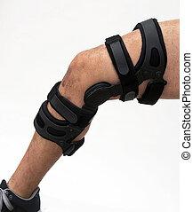 knie steun, voor, knie, injury.