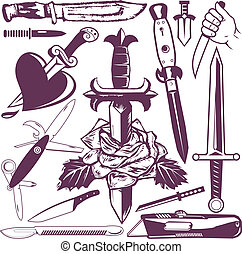 Knife and Dagger Collection - Clip art collection of knives...