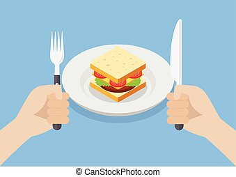 Knife and fork cutlery in hands with sandwich