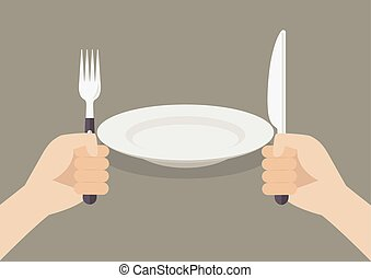 Knife and fork cutlery in hands with white plate