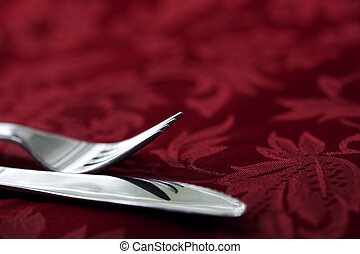 Knife and Fork on Red Damask