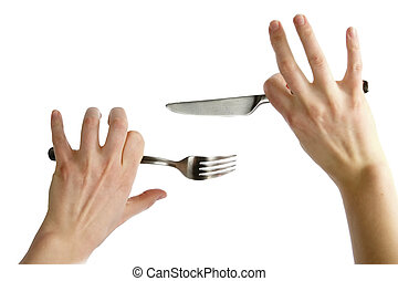 Knife and Fork - Two awkward womans hands holding a knife ...