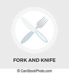Knife and fork vector flat icon