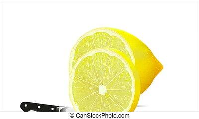 Knife and lemon, art video illustration.