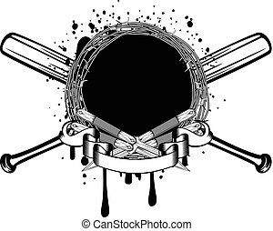 knife bat - Vector illustration two crossed daggers and...