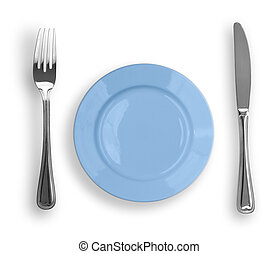 Knife, blue plate and fork isolated
