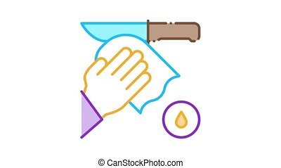 Knife Cleaning Icon Animation. color Knife Cleaning animated icon on white background