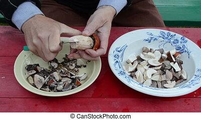 knife cut mushroom - hand cut orange cap boletus mushroom in...