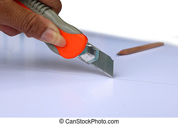 Knife cutter cut down on the lines