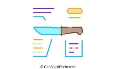 Knife Description Icon Animation. color Knife Description animated icon on white background
