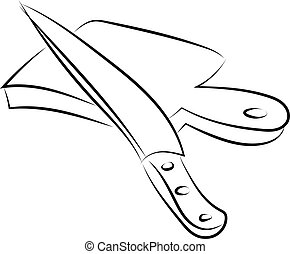 Knife drawing, illustration, vector on white background.
