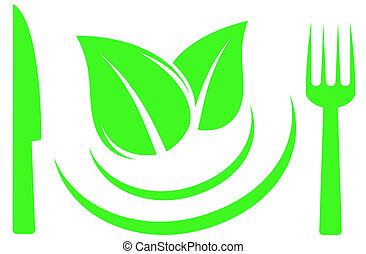 knife, fork and leaf on plate - salad symbol with knife,...