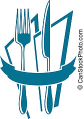 Knife, fork and napkin motif, in blue over white, with ribbon across and space for text.
