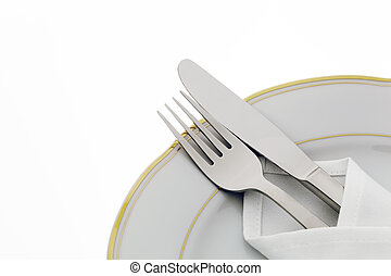 Knife, fork and plate - A knife with a fork and plate. Place...